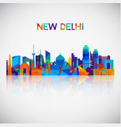 new delhi skyline silhouette in colorful vector image