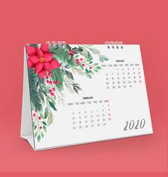 new year 2020 desk calendar template vector image