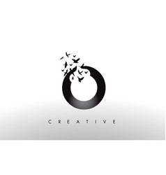 O logo letter with flock of birds flying and vector