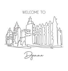 One continuous line drawing great mosque vector