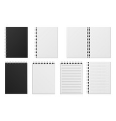 open and closed notebook blank realistic spiral vector image