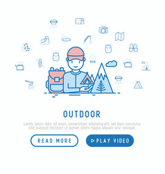 Outdoor traveller with backpack in mountains vector