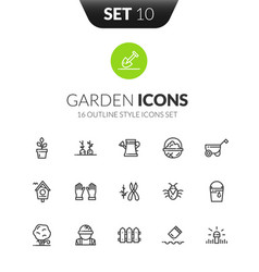 Outline black icons set in modern design style vector