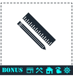 Pencil and ruler icon flat vector