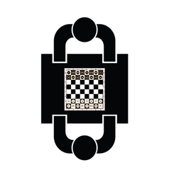 Play chess icon with two man vector