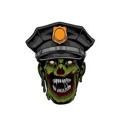 Police zombie head halloween logo template vector