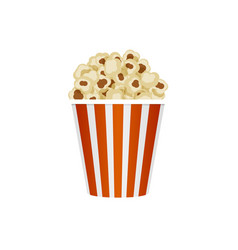 Popcorn in striped bucket isolated on white vector