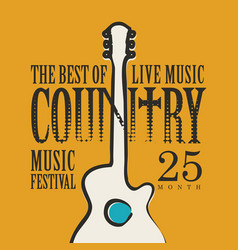 Poster for country music festival with a guitar vector