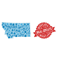 Real estate composition of mosaic map of montana vector