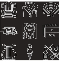 Restaurant industry white line icons vector image
