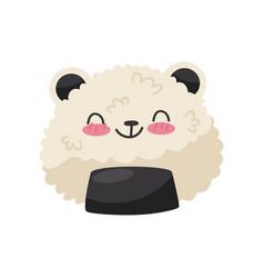 rice in panda bear shape cute kawaii food cartoon vector image