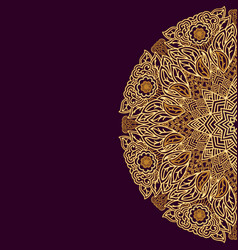 Round ornament in indian style golden on a dark vector