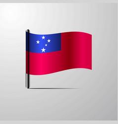 Samoa waving shiny flag design vector