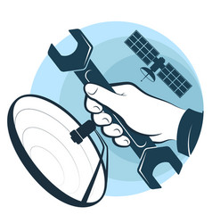 Satellite dish installation and repair vector