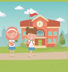 School building and kids design vector