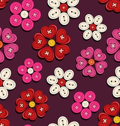 Seamless pattern of button flowers vector