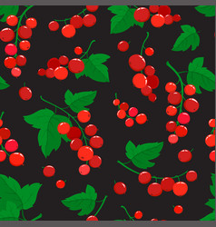seamless pattern with cartoon red currant vector image