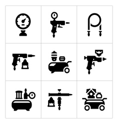 Set icons compressor and accessories vector