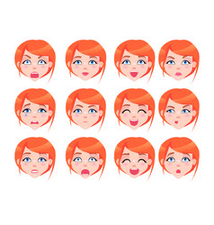 Set of female emotions of red-haired girl flat vector