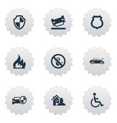 Set of simple warrant icons elements automobile vector