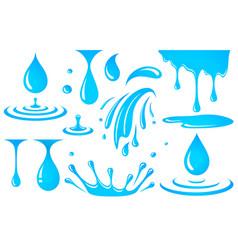 set water elements drop and splash vector image