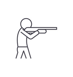 shooting a gun line icon concept shooting a gun vector image