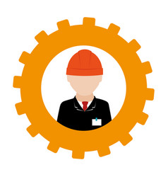 Silhouette in shape of gear with engineer with vector