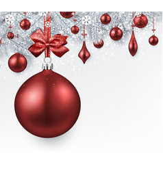 silver background with red christmas ball vector image
