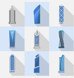 skyscrapers set isolated icons vector image