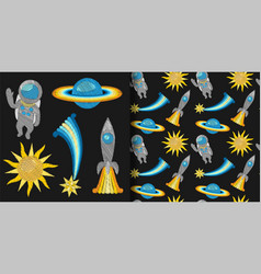 Space embroidery patch set and seamless pattern vector