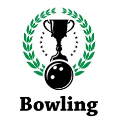 Sport bowling league label with laurel wreath vector image