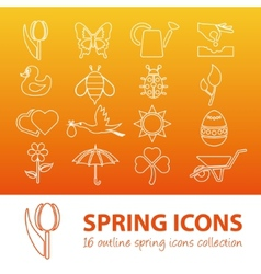 spring outline icons vector image