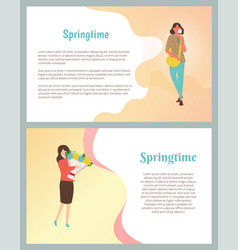 Springtime posters set pretty girl fashion cloth vector