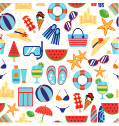 Summer beach pattern with umbrella and starfish vector