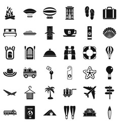Summer travel icons set simple style vector