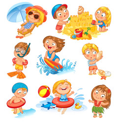 summer vacation isolated on white background vector image