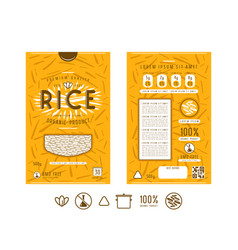 Template label and icons for rice packaging vector