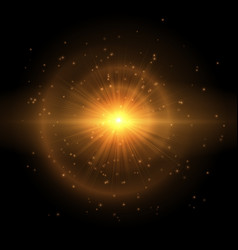 The golden star explodes in the sky vector