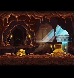 treasure cave with a waterfall vector image