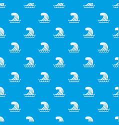 Tsunami wave pattern seamless blue vector