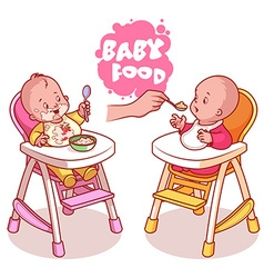 Two kids in baby highchair with plate of porridge vector