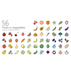vegetables colored outline iconset vector image