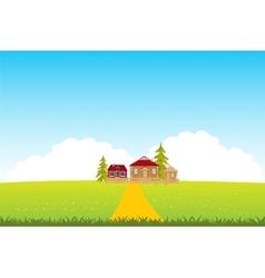 Village in clean field vector image