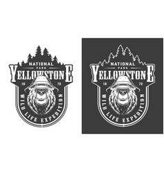 vintage yellowstone national park label vector image