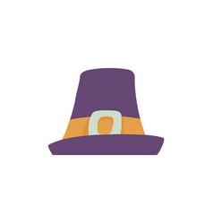 violet pilgrim hat with wide brim in flat style vector image