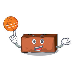 With basketball brick character cartoon style vector