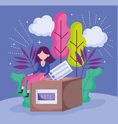 Woman sitting on box with ballot politics election vector