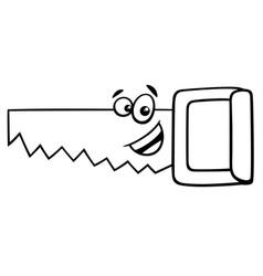 wood saw cartoon coloring page vector image