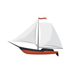 Yacht sailboat or sailing ship sail boat marine vector