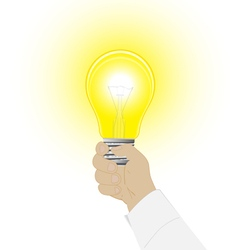 Conceptual icon a light bulb in a hand of the man vector image